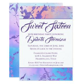 Cool Sweet 16 | Marble Modern Purple Blue Pink Invitation