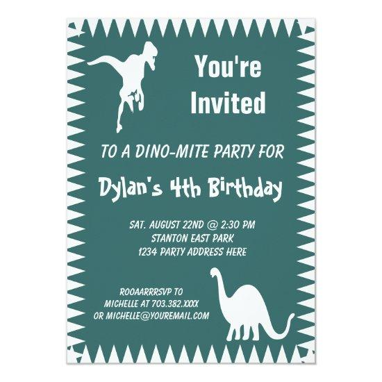Cool T Rex Dinosaur Birthday Party Invitations