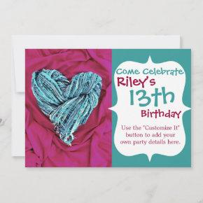 Cool Teal Blue Heart on Hot Pink Fabric Lovely Invitation