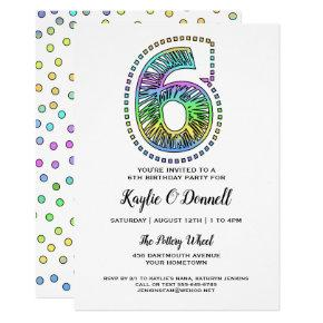 Cool Whimsical Fun 6th Birthday Party Invitation