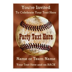 Coolest Vintage Baseball Invitations, YOUR TEXT Invitation