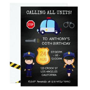 Cops and Robbers Birthday Chalkboard add photo Invitation