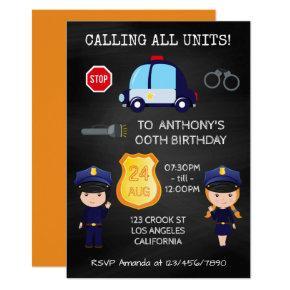 Cops and Robbers Birthday Chalkboard Invitation