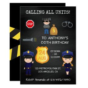 Cops and Robbers Birthday Chalkboard Invitation