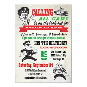 Cops and Robbers Birthday Party Invitations