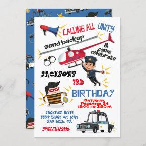 Cops and Robbers Birthday Party Invitation