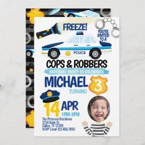 Cops and Robbers Birthday Party Invitation Invite