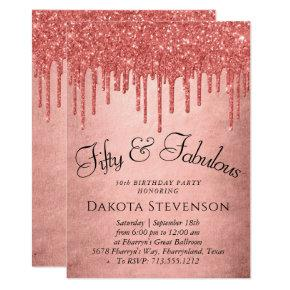 Coral 50 and Fabulous | Trendy Glitter Fancy Drip Invitation