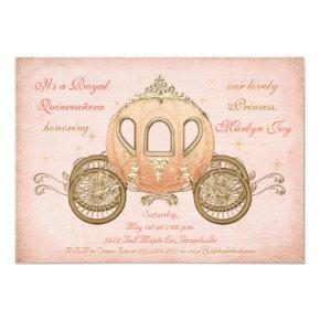 Coral Fairytale Princess Quinceanera Invitations