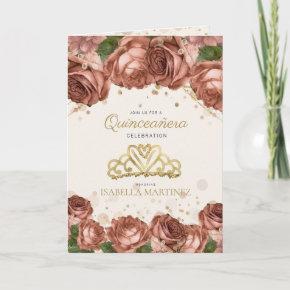 Coral Pink Floral Gold Glitter Quinceañera Photo Invitation