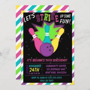 Cosmic Bowling Invitation Girls Birthday Party