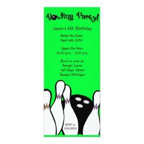 COSMIC BOWLING PARTY 4x9 Birthday Invitation