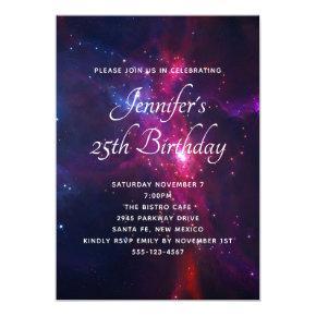 Cosmic Space Stars and Nebula Birthday Party Invitation