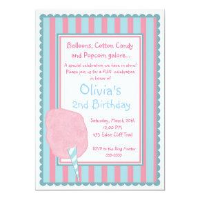 Cotton Candy Circus Carnival Birthday Invitations
