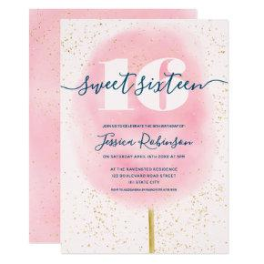Cotton candy glitter navy pink watercolor sweet 16 invitation