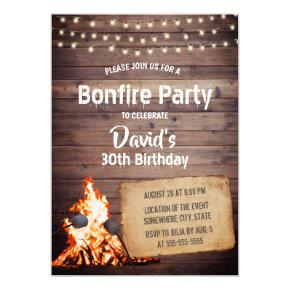 Country Bonfire Party Rustic String Light Birthday Invitations