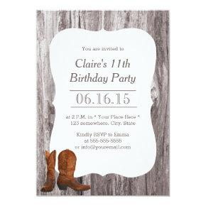 Country Cowboy/Cowgirl Wood Birthday Party Invitations