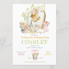 Country Girl Petting Zoo Birthday Party Invitation