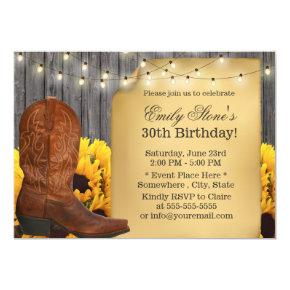 Country Sunflowers Cowgirl Barn Wood Birthday Invitation