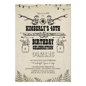 Country Western Cowboy Boots Birthday Party Invitation