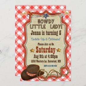 Country Western Girl Birthday Invitation