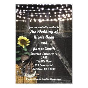 Country Western Rustic Barn Wedding Invitations
