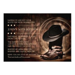 Country Western Wild West 50th Birthday Party Invitation