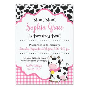 Cow Birthday Party Invitation   Pink and Black