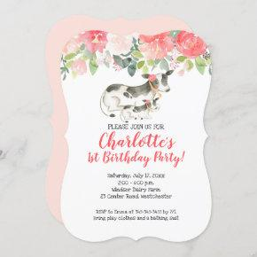 Cow Farm Coral and Pink Floral Birthday Invitation