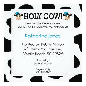 cow themed party birthday invitations candied clouds
