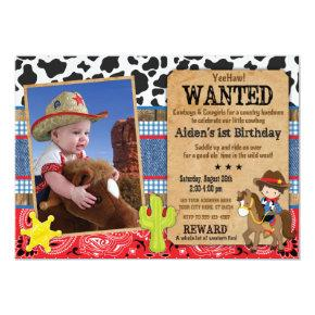 Cowboy Birthday Invitation-Wanted, Western Theme Invitation