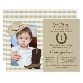 Cowboy Birthday Wild West Party Photo Invitation