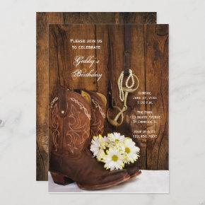 Cowboy Boots and Daisies Country Birthday Party Invitation