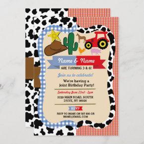 Cowboy & Farm Joint Boy Girl Birthday Animal Horse Invitation