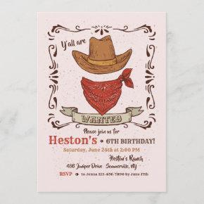 Cowboy Hat and Bandana Invitation