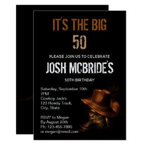 Cowboy Hat and Leather Boots Masculine Personalize Invitations