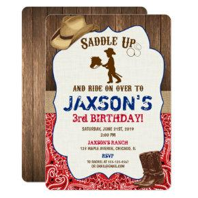 Cowboy hat boots rustic boy birthday invites