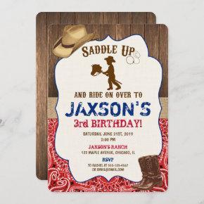 Cowboy hat boots rustic boy birthday invites