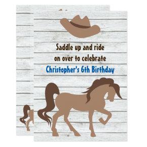 Cowboy Hat, Brown Horse Western Birthday Invite