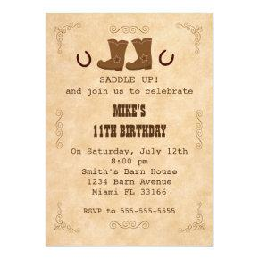 Cowboy Invitations Boy Girl Birthday Party Western
