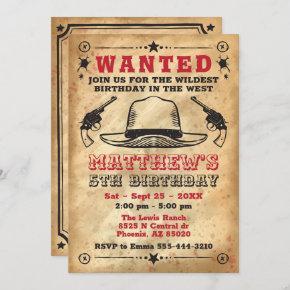 Cowboy invitation, Western Birthday Invitation