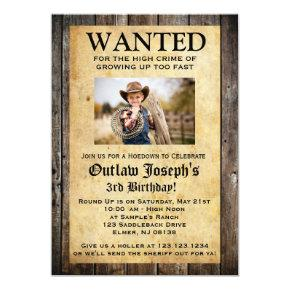 Cowboy Party Invitations | WANTED Invitations