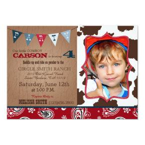 Cowboy Red Bandanna Western Theme Birthday Invitation