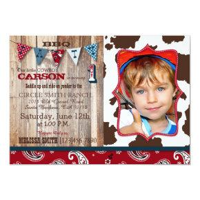 Cowboy Red Bandanna Western Theme Birthday Invitation