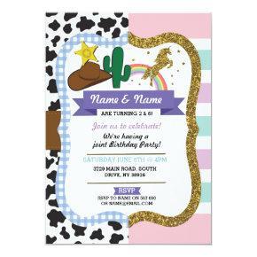 Cowboy & Unicorn Boys Girls Birthday Invites
