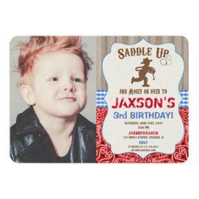 Cowboy western birthday boy rustic photo invitation