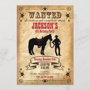 Cowboy Western Birthday Invitation / Wanted Poster