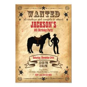 Cowboy Western Birthday Invitation / Wanted Poster