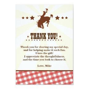 Cowboy Western Rodeo Birthday Thank You Card