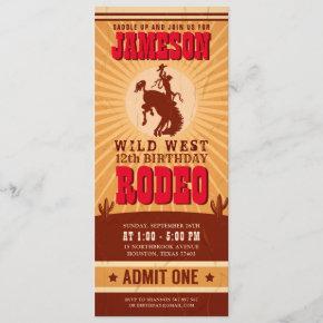 Cowboy Western Rodeo Birthday Ticket Pass Invitation